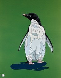 Penguin on Green by Dylan Izaak -  sized 22x28 inches. Available from Whitewall Galleries